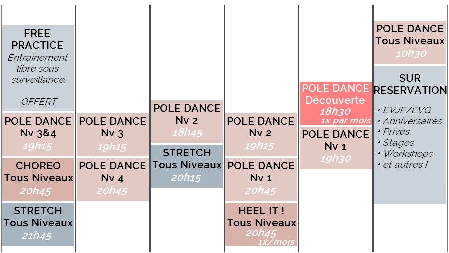 planning cours pole